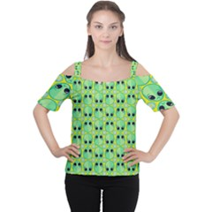 Alien Pattern Women s Cutout Shoulder Tee