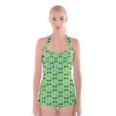 Alien Pattern Boyleg Halter Swimsuit