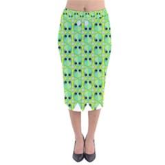 Alien Pattern Velvet Midi Pencil Skirt