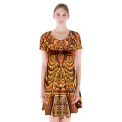 Alien Dj Short Sleeve V-neck Flare Dress