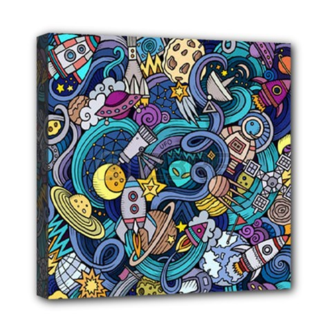 Cartoon Hand Drawn Doodles On The Subject Of Space Style Theme Seamless Pattern Vector Background Mini Canvas 8  x 8