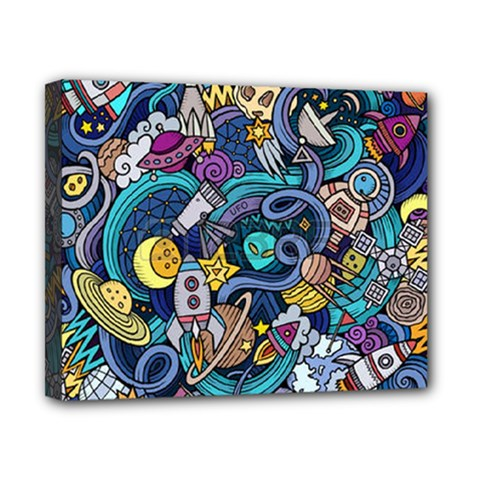 Cartoon Hand Drawn Doodles On The Subject Of Space Style Theme Seamless Pattern Vector Background Canvas 10  x 8