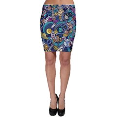 Cartoon Hand Drawn Doodles On The Subject Of Space Style Theme Seamless Pattern Vector Background Bodycon Skirt
