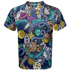 Cartoon Hand Drawn Doodles On The Subject Of Space Style Theme Seamless Pattern Vector Background Men s Cotton Tee