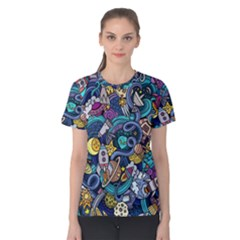 Cartoon Hand Drawn Doodles On The Subject Of Space Style Theme Seamless Pattern Vector Background Women s Cotton Tee