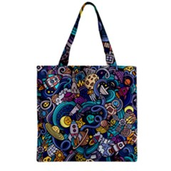 Cartoon Hand Drawn Doodles On The Subject Of Space Style Theme Seamless Pattern Vector Background Grocery Tote Bag