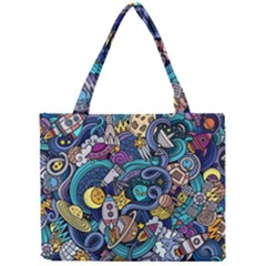 Cartoon Hand Drawn Doodles On The Subject Of Space Style Theme Seamless Pattern Vector Background Mini Tote Bag