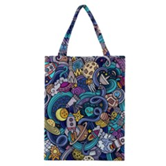 Cartoon Hand Drawn Doodles On The Subject Of Space Style Theme Seamless Pattern Vector Background Classic Tote Bag