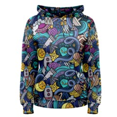 Cartoon Hand Drawn Doodles On The Subject Of Space Style Theme Seamless Pattern Vector Background Women s Pullover Hoodie