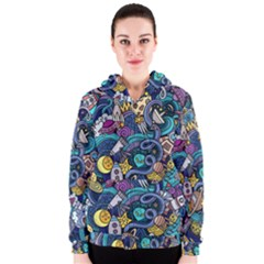 Cartoon Hand Drawn Doodles On The Subject Of Space Style Theme Seamless Pattern Vector Background Women s Zipper Hoodie