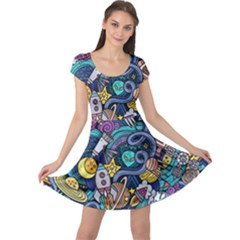 Cartoon Hand Drawn Doodles On The Subject Of Space Style Theme Seamless Pattern Vector Background Cap Sleeve Dresses