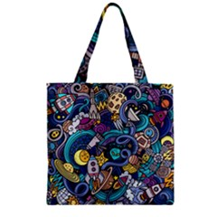 Cartoon Hand Drawn Doodles On The Subject Of Space Style Theme Seamless Pattern Vector Background Zipper Grocery Tote Bag