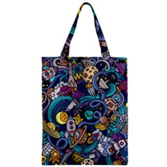 Cartoon Hand Drawn Doodles On The Subject Of Space Style Theme Seamless Pattern Vector Background Zipper Classic Tote Bag