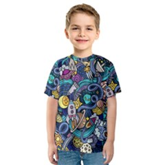 Cartoon Hand Drawn Doodles On The Subject Of Space Style Theme Seamless Pattern Vector Background Kids  Sport Mesh Tee