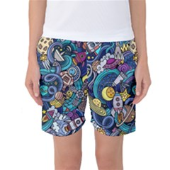 Cartoon Hand Drawn Doodles On The Subject Of Space Style Theme Seamless Pattern Vector Background Women s Basketball Shorts
