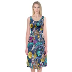 Cartoon Hand Drawn Doodles On The Subject Of Space Style Theme Seamless Pattern Vector Background Midi Sleeveless Dress