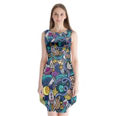Cartoon Hand Drawn Doodles On The Subject Of Space Style Theme Seamless Pattern Vector Background Sleeveless Chiffon Dress