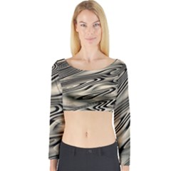 Alien Planet Surface Long Sleeve Crop Top
