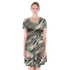 Alien Planet Surface Short Sleeve V-neck Flare Dress