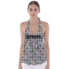 Peace Pattern Babydoll Tankini Top