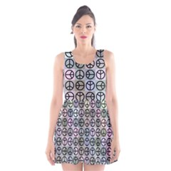Peace Pattern Scoop Neck Skater Dress