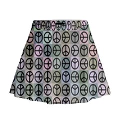 Peace Pattern Mini Flare Skirt