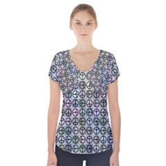 Peace Pattern Short Sleeve Front Detail Top