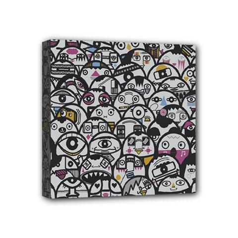 Alien Crowd Pattern Mini Canvas 4  x 4