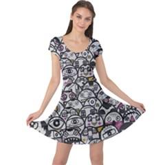 Alien Crowd Pattern Cap Sleeve Dresses