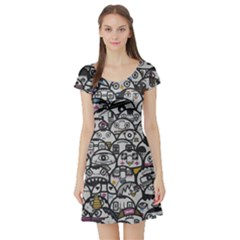 Alien Crowd Pattern Short Sleeve Skater Dress
