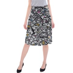 Alien Crowd Pattern Midi Beach Skirt
