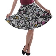 Alien Crowd Pattern A Line Skater Skirt
