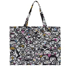 Alien Crowd Pattern Zipper Large Tote Bag
