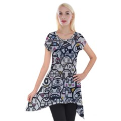 Alien Crowd Pattern Short Sleeve Side Drop Tunic