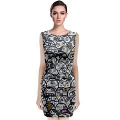 Alien Crowd Pattern Sleeveless Velvet Midi Dress