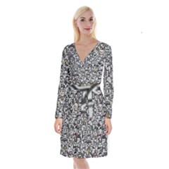 Alien Crowd Pattern Long Sleeve Velvet Front Wrap Dress