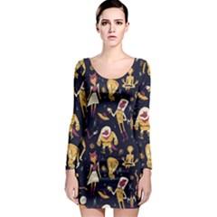 Alien Surface Pattern Long Sleeve Bodycon Dress