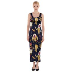 Alien Surface Pattern Fitted Maxi Dress