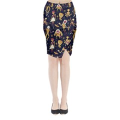 Alien Surface Pattern Midi Wrap Pencil Skirt