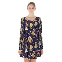Alien Surface Pattern Long Sleeve Velvet V Neck Dress