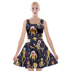 Alien Surface Pattern Velvet Skater Dress