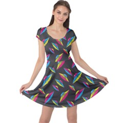 Alien Patterns Vector Graphic Cap Sleeve Dresses