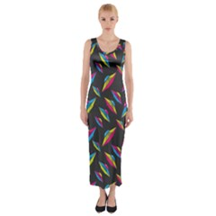 Alien Patterns Vector Graphic Fitted Maxi Dress