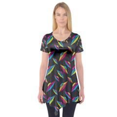 Alien Patterns Vector Graphic Short Sleeve Tunic