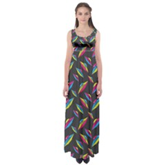 Alien Patterns Vector Graphic Empire Waist Maxi Dress