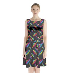 Alien Patterns Vector Graphic Sleeveless Waist Tie Chiffon Dress