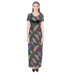 Alien Patterns Vector Graphic Short Sleeve Maxi Dress