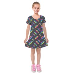 Alien Patterns Vector Graphic Kids  Short Sleeve Velvet Dress