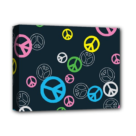 Peace & Love Pattern Deluxe Canvas 14  X 11