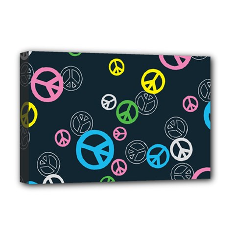 Peace & Love Pattern Deluxe Canvas 18  X 12